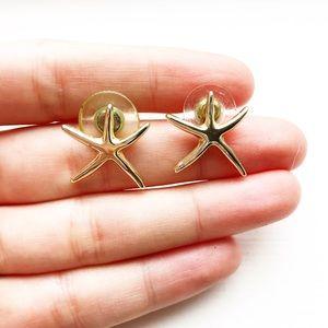 Vintage silver starfish stud earrings